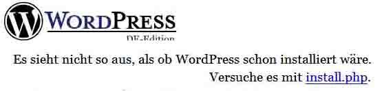 Meldung vor der Installation von WordPress