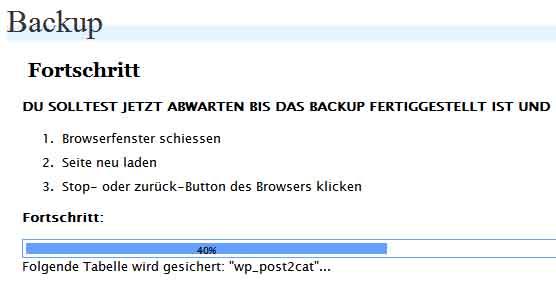 Backup Schritt 1