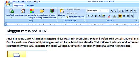 Blog mit Word 2007 Bild 1