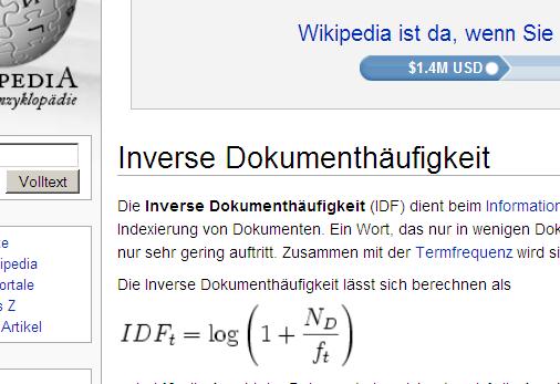 Inverse Dokumomentenhäufigkeit bei Wikipedia