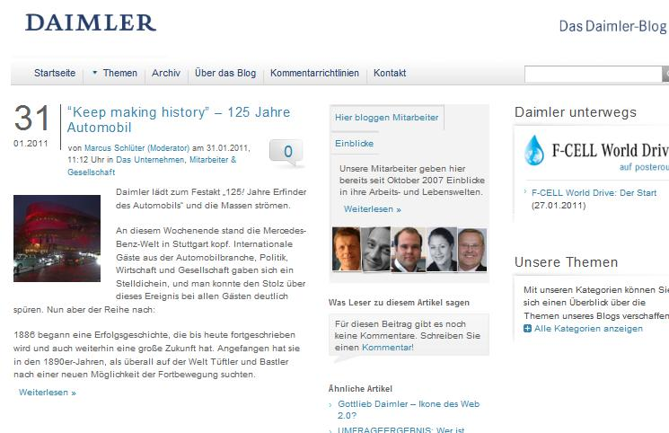 Daimler Corporate Blog im Januar 2011