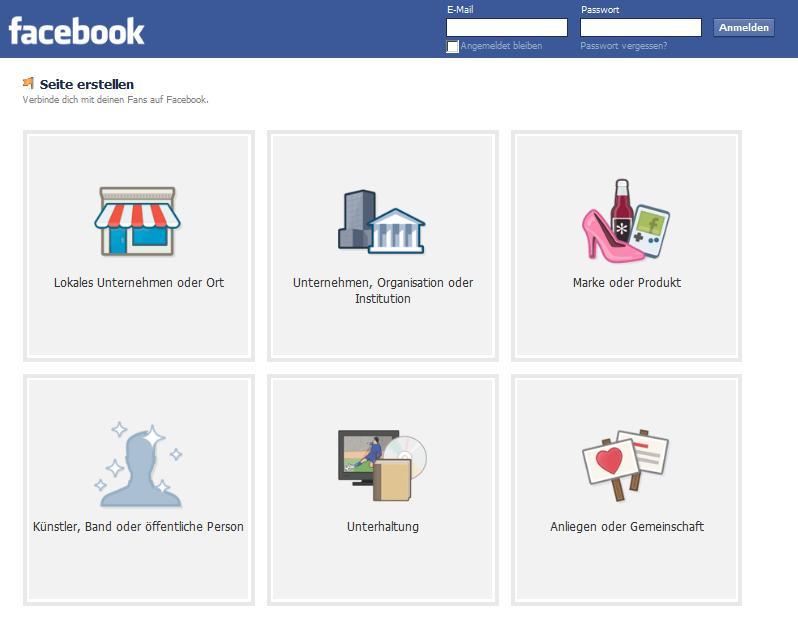 Facebook für Unternehmen Anmeldung
