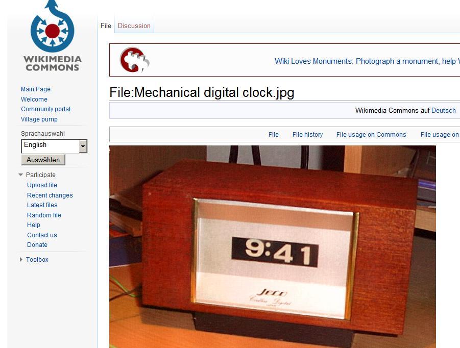 Digitale Uhr aus der Wikipedia